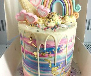 cake, pastel, and rainbow image