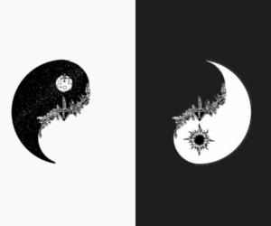 bad, black and white, and moon image
