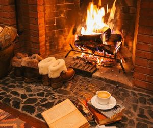fire, book, and winter image