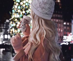 winter, girl, and coffee image