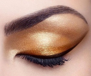 makeup, eyeliner, and gold image
