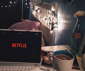 netflix, coffee, and food image