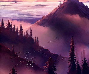 art, mountains, and nature image