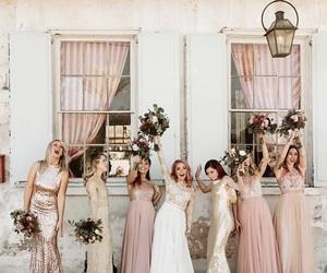bride, wedding, and bridesmaids image