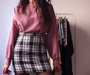 fall fashion, plaid skirt, and pink sweater image