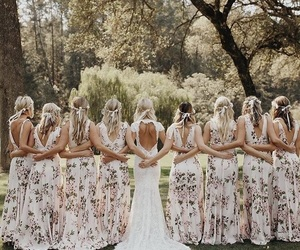 bride, bridesmaids, and gown image
