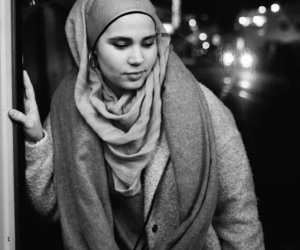 black and white, hijab, and photography image