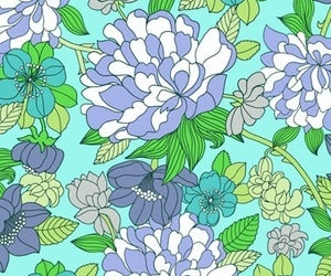 background, blue, and florals image