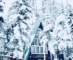 cabin, snow, and winter image