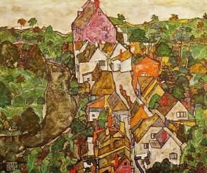 art, egon schiele, and house image