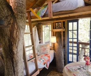 treehouse, bed, and bedroom image