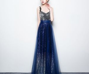 evening dress, starry sky, and formal dresses image