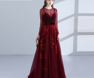 burgundy, elegant, and evening dresses image