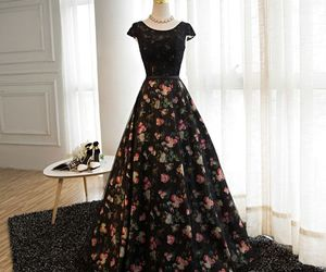 black, flower, and long dress image
