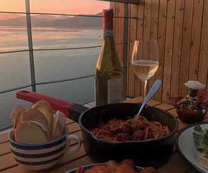 sunset, food, and wine image