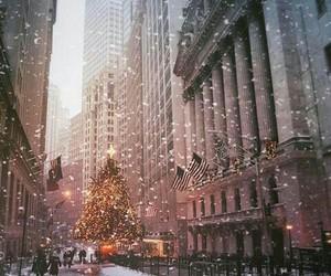 christmas, snow, and new york image