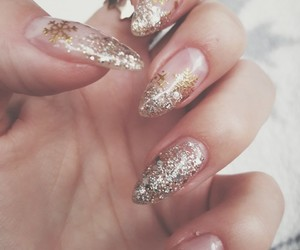 glitter, gold, and manicure image