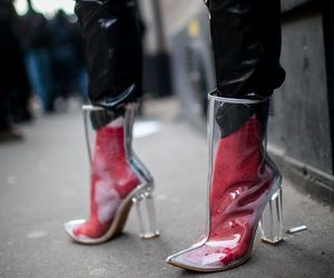 girl, high heels, and moda image