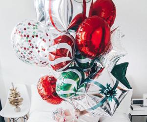 balloons, christmas, and gift image
