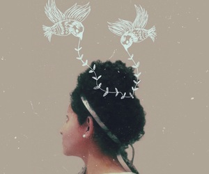 art, selfportrait, and birds image