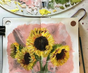 art, paint, and sunflowers image