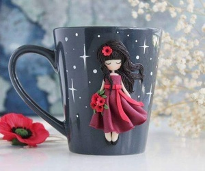 cup, flower, and girl image