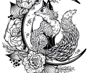 draw, flower, and fox image