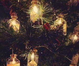 christmas lights, christmas tree, and potions image