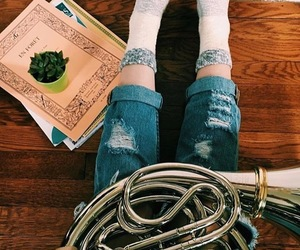 french horn, music, and plant image