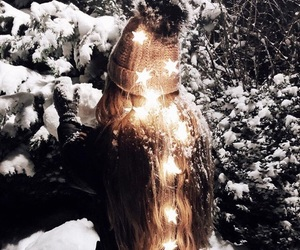 hair, lights, and snow image