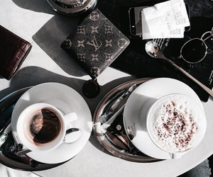 coffee, drink, and Louis Vuitton image