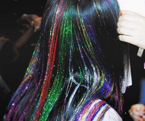 hair, glitter, and rainbow image