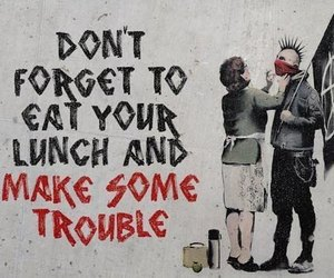 punk, trouble, and BANKSY image