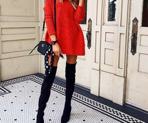 red dress, black thigh high boots, and small black purse image