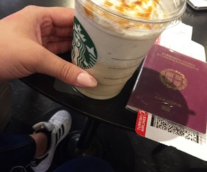 airport, coffee, and frappuccino image