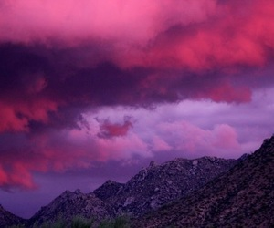 sky, pink, and mountains image