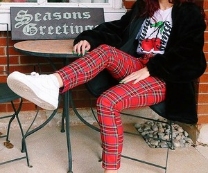 white sneakers, red plaid pants, and white graphic t-shirts image