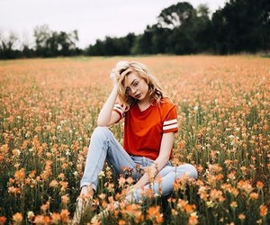 field, flowers, and girl image