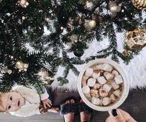 baby, christmas, and coffee image