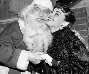 audrey hepburn, christmas, and santa image