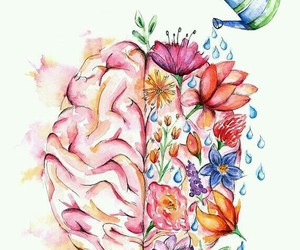 brain, flowers, and art image