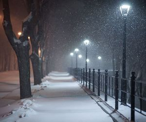 night, snow, and winter image
