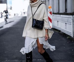 autumn, boots, and skirt image