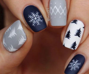 nails, snowflake, and style image