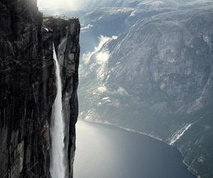 waterfall, norway, and mountains image