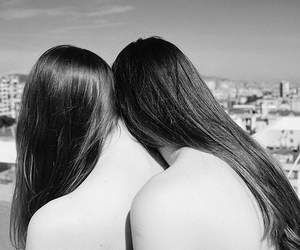 black and white, long hair, and couple image