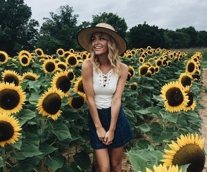girl, sunflowers, and yellow image
