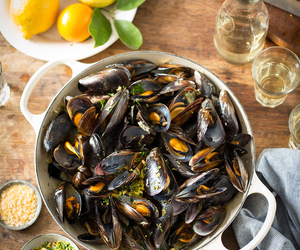 bread, mussels, and lunch image