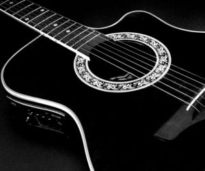 guitar, black, and music image