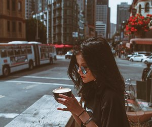 brunette, city, and girl image